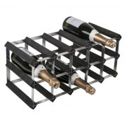 WINE0072-15 Bottle Wine Rack 5×2–Black Ash Pine-Galv Steel-Self Assemble–With Bottles-WS