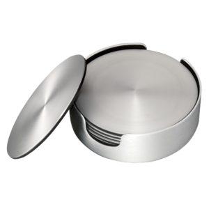 Dorre Glasunderlägg borstad aluminium 6-pack